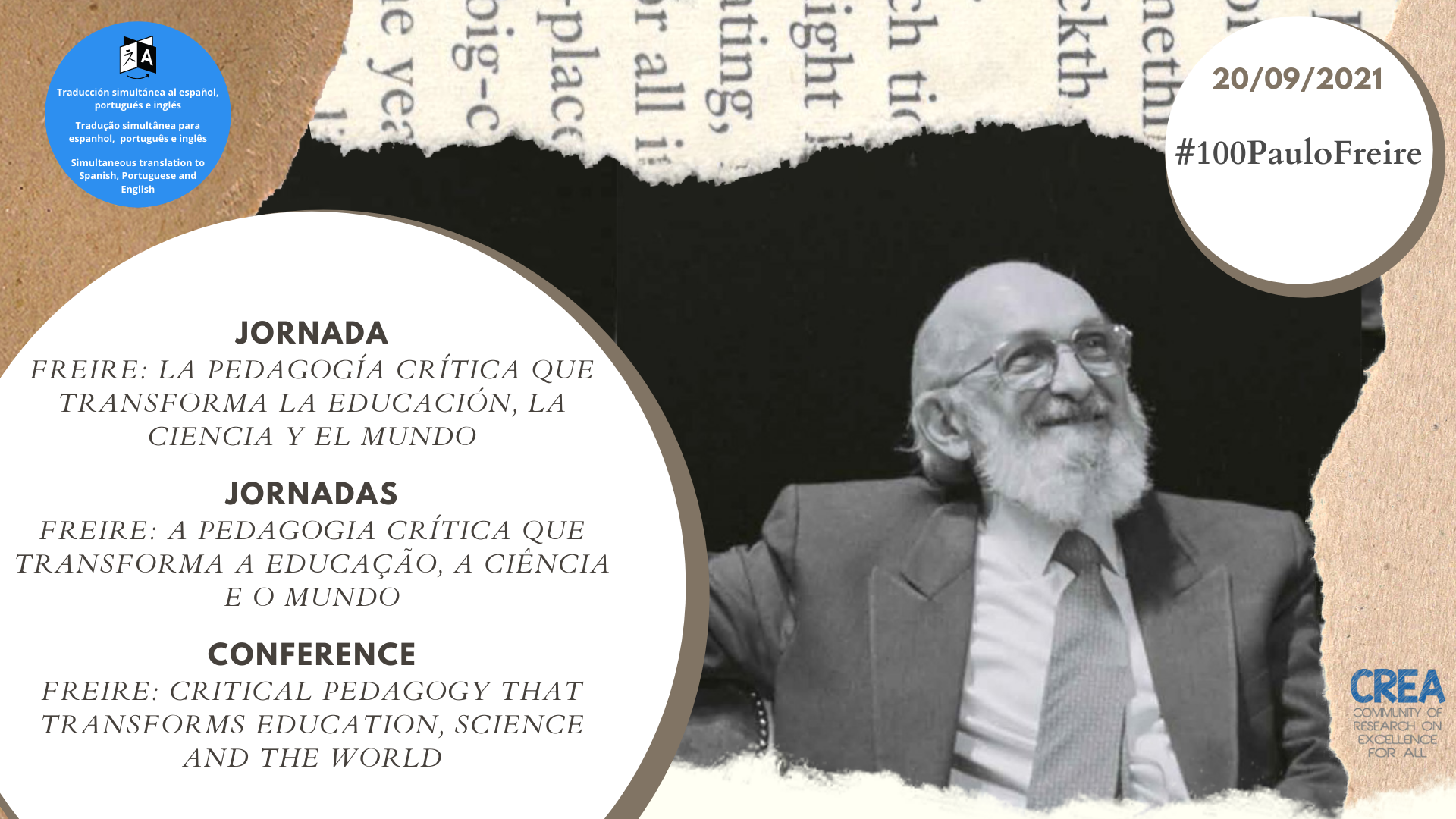 More than 2.300 people from all over the world participate in the main act of tribute to Paulo Freire on his centenary